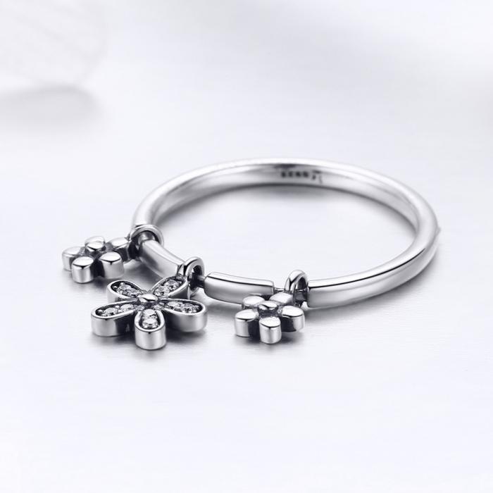 Inel argint 925 cu trei floricele si zirconii albe - Be Nature IST0053 1
