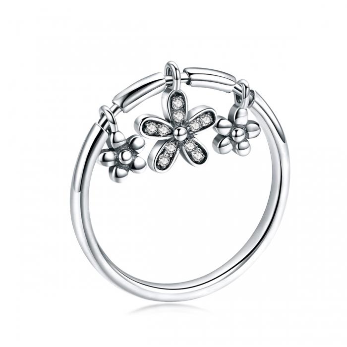 Inel argint 925 cu trei floricele si zirconii albe - Be Nature IST0053 0