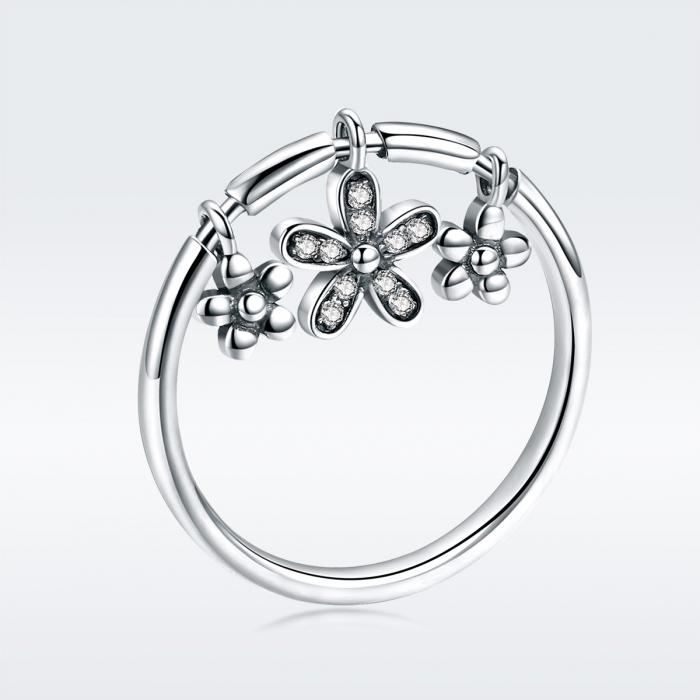 Inel argint 925 cu trei floricele si zirconii albe - Be Nature IST0053 3