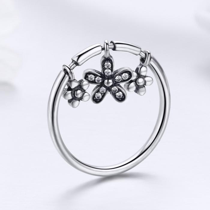 Inel argint 925 cu trei floricele si zirconii albe - Be Nature IST0053 5