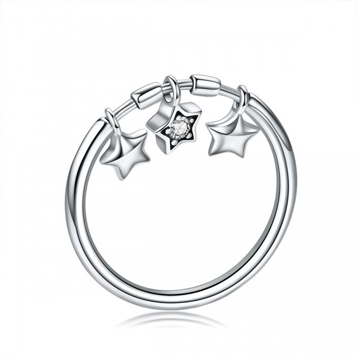 Inel argint 925 cu trei stelute si zirconiu alb - Be Nature IST0058 0