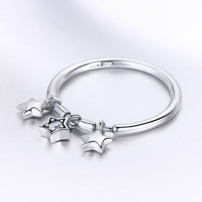Inel argint 925 cu trei stelute si zirconiu alb - Be Nature IST0058 2