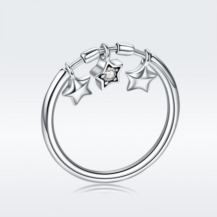 Inel argint 925 cu trei stelute si zirconiu alb - Be Nature IST0058 5