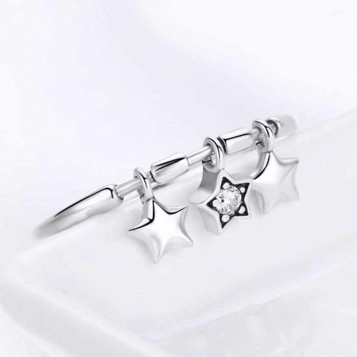 Inel argint 925 cu trei stelute si zirconiu alb - Be Nature IST0058 3