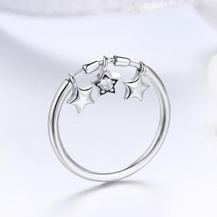 Inel argint 925 cu trei stelute si zirconiu alb - Be Nature IST0058 1