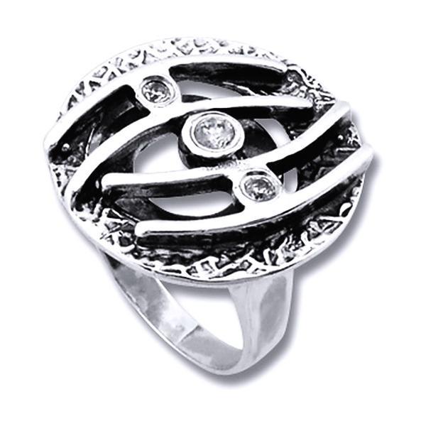 Inel argint 925 cu zirconii albe si aspect vintage [0]