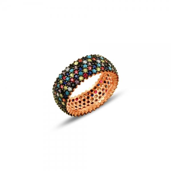 Inel argint 925 Rose Gold cu zirconii multicolore - Be Elegant ITU0096 [0]