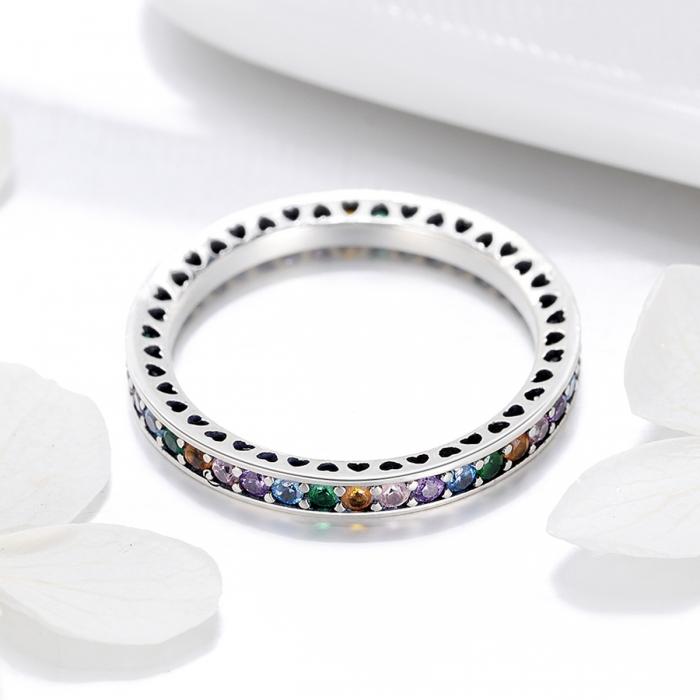 Inel argint 925 cu zirconii multicolore de jur imprejur - Be Elegant IST0057 [2]