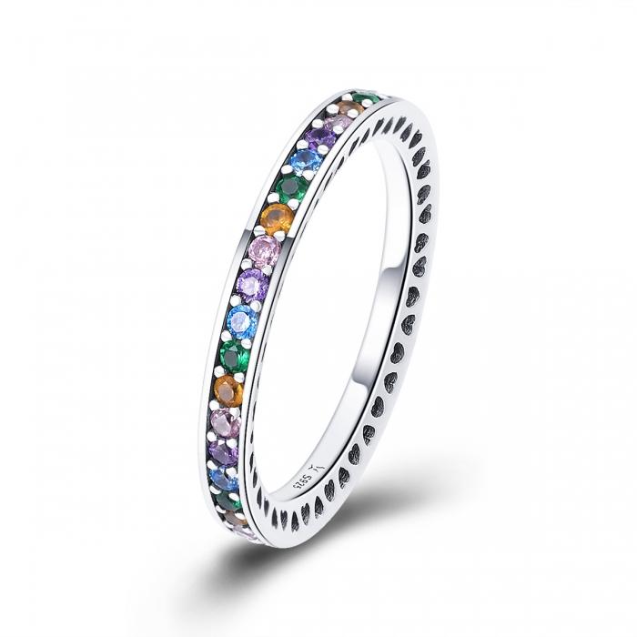 Inel argint 925 cu zirconii multicolore de jur imprejur - Be Elegant IST0057 [0]