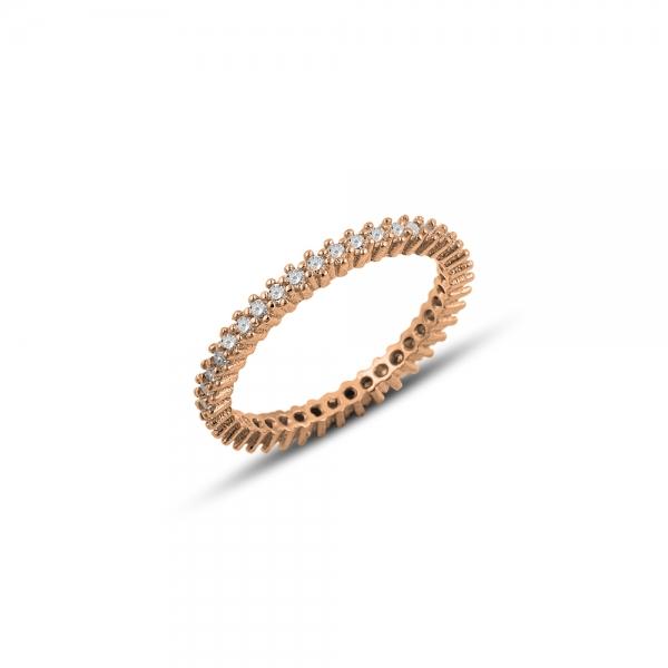 Inel argint 925 Eternity cu zirconii placat cu aur roz [0]