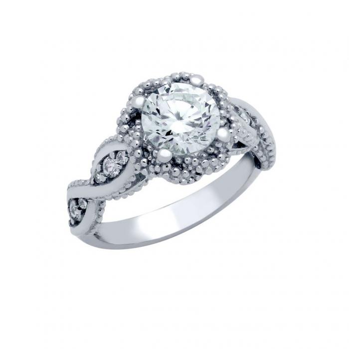 Inel elegant floare din argint 925 rodiat cu zirconii ISX0475 0