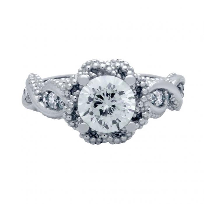 Inel elegant floare din argint 925 rodiat cu zirconii ISX0475 1