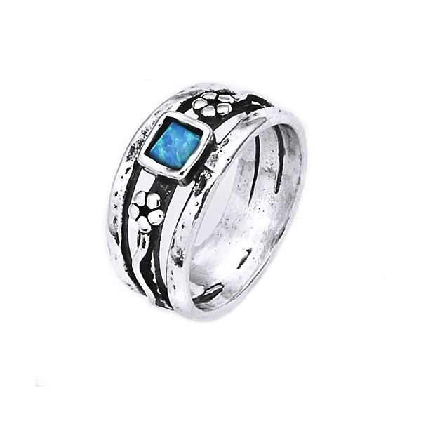Inel argint 925 Israel cu flori si opal imperial [0]
