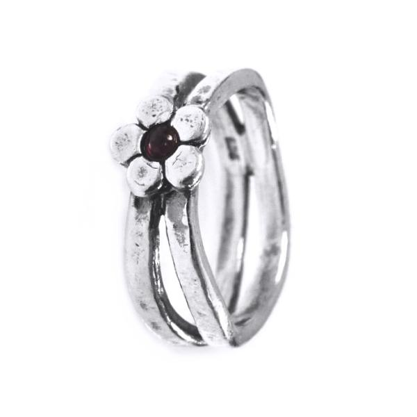 Inel argint 925 Israel floare cu granat [0]