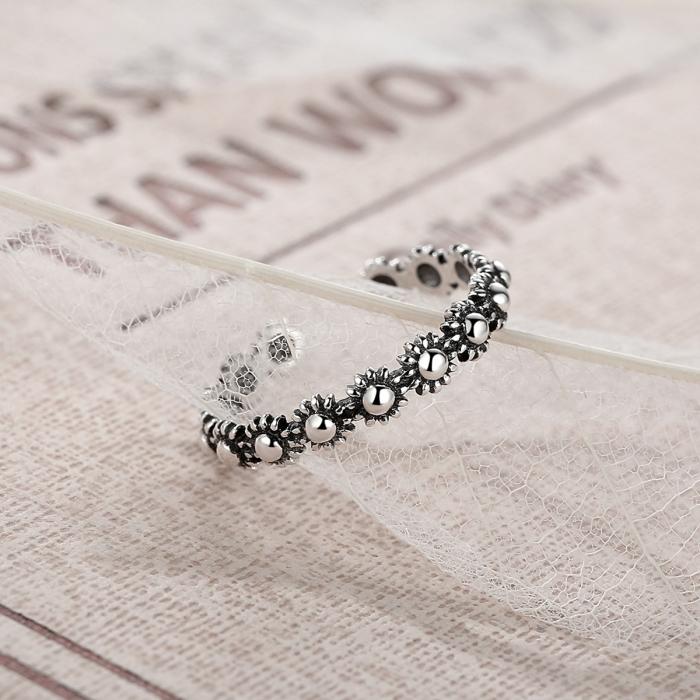 Inel argint 925 reglabil cu flori si aspect vintage - Be Nature IST0022 5