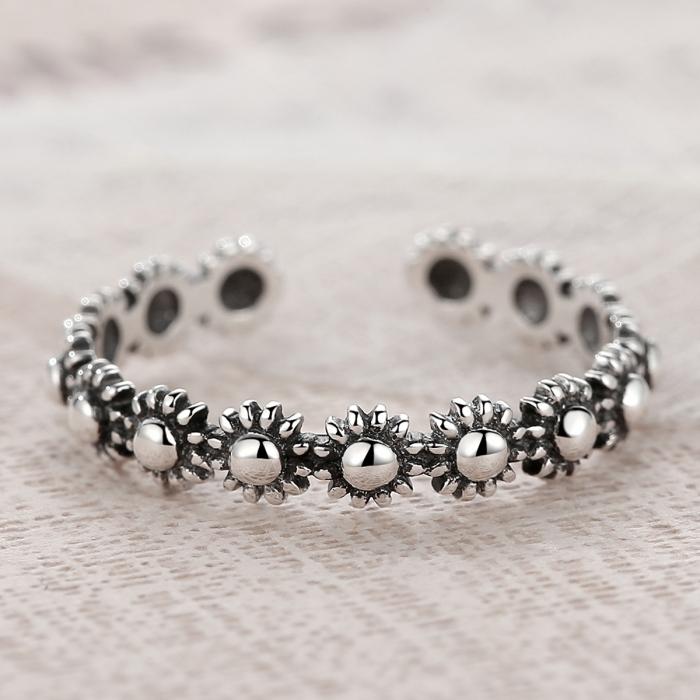 Inel argint 925 reglabil cu flori si aspect vintage - Be Nature IST0022 4