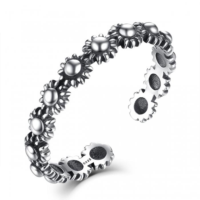 Inel argint 925 reglabil cu flori si aspect vintage - Be Nature IST0022 0