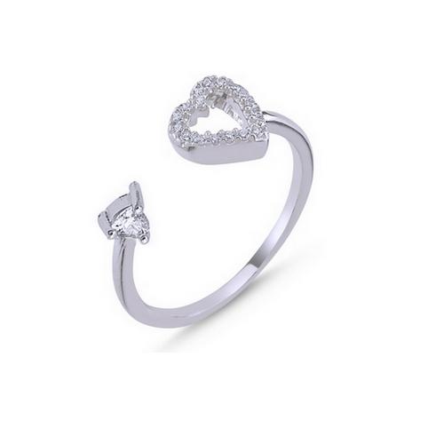Inel argint 925 reglabil cu inimioara si zirconii albe 0