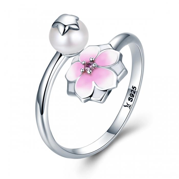 Inel argint 925 reglabil cu perla, floare si zirconiu roz - Be Nature IST0030 [0]