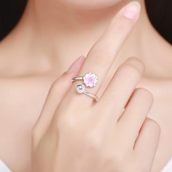 Inel argint 925 reglabil cu perla, floare si zirconiu roz - Be Nature IST0030 [4]