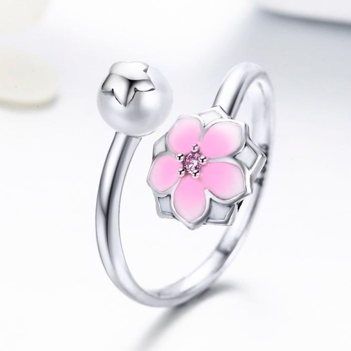 Inel argint 925 reglabil cu perla, floare si zirconiu roz - Be Nature IST0030 [1]