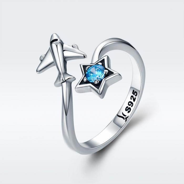Inel argint 925 reglabil cu steluta albastra si avion argintiu - Be Nature IST0047 2