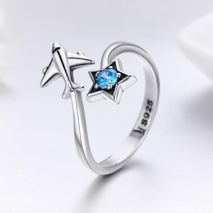 Inel argint 925 reglabil cu steluta albastra si avion argintiu - Be Nature IST0047 3