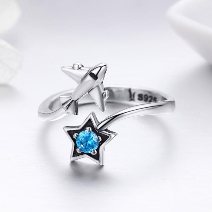 Inel argint 925 reglabil cu steluta albastra si avion argintiu - Be Nature IST0047 1