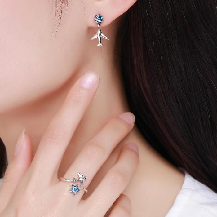 Inel argint 925 reglabil cu steluta albastra si avion argintiu - Be Nature IST0047 7