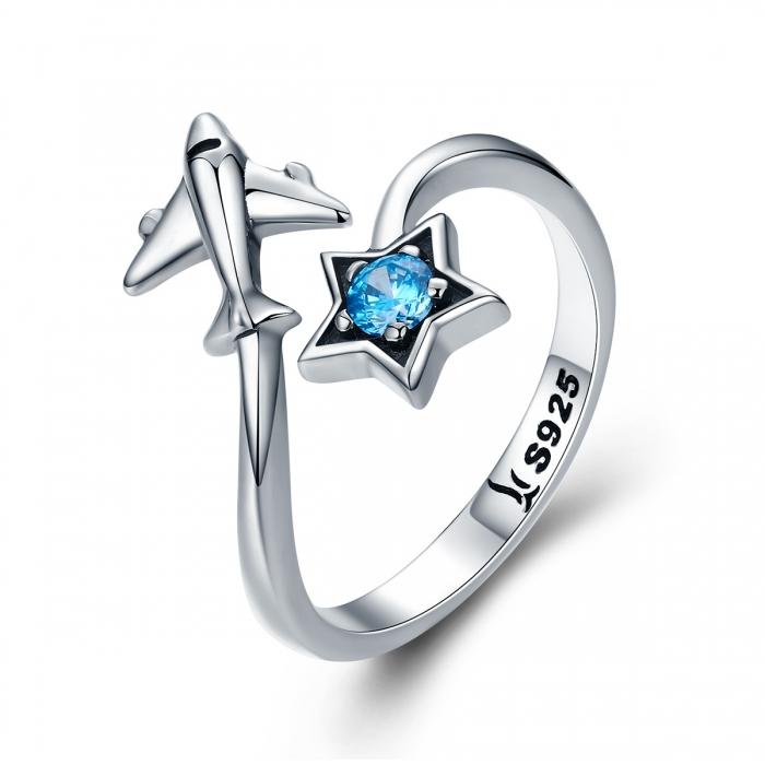 Inel argint 925 reglabil cu steluta albastra si avion argintiu - Be Nature IST0047 0