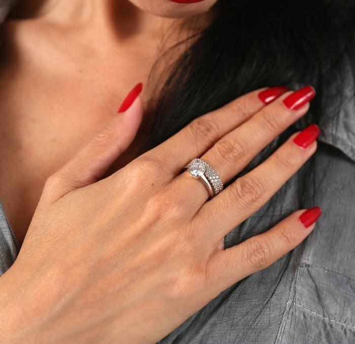 Inel argint 925 rodiat cu zirconii albe - Be Elegant ITU0081 2