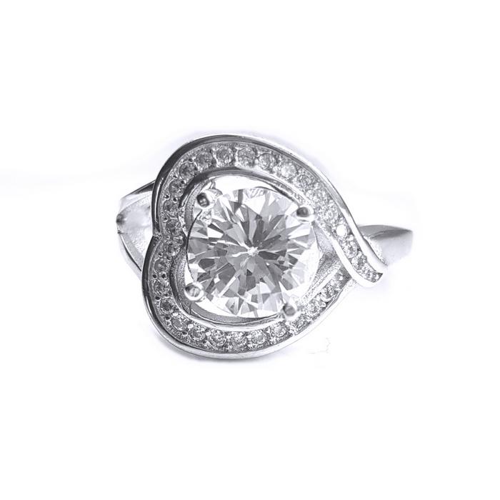 Inel argint 925 rodiat cu zirconii model inimioara 0