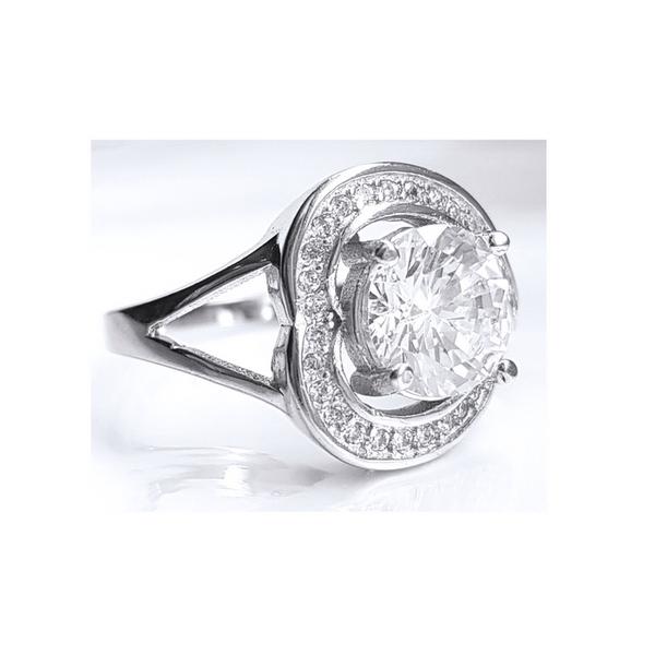 Inel argint 925 rodiat cu zirconii model inimioara 1