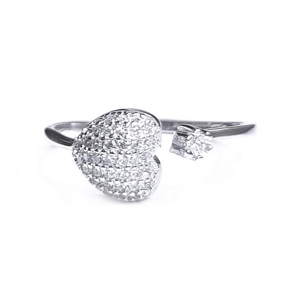 Inel reglabil argint 925 rodiat inimioara cu zirconii albe INE0799 1