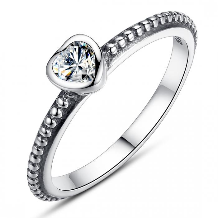 Inel argint 935 cu inimioara alba - Be in Love IST0009 0