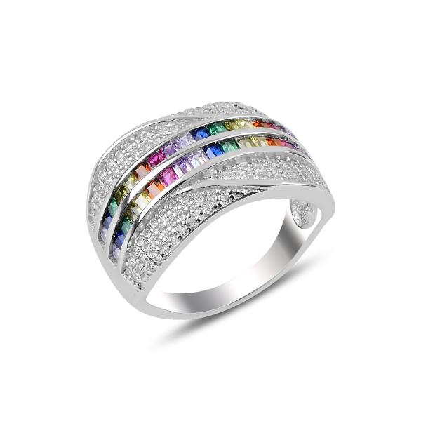 Inel argint Baguette cu zirconii multicolore, placat cu rodiu [0]