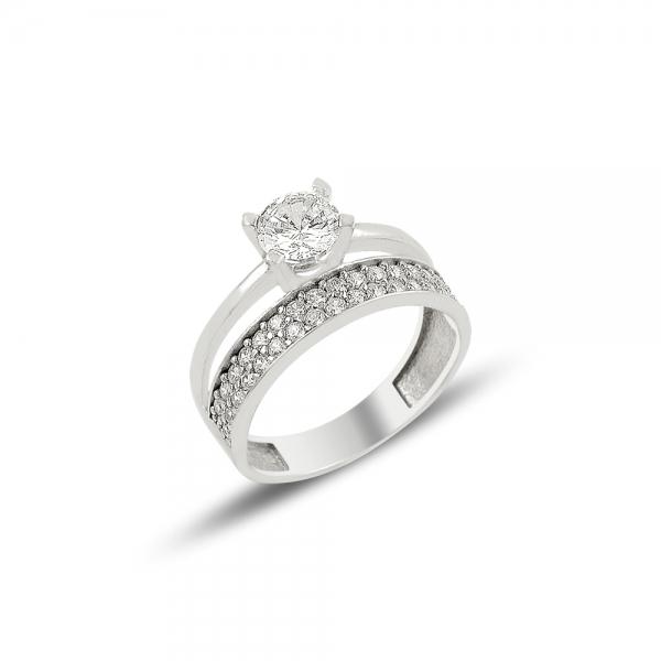 Inel argint cu 2 randuri de zirconii albe mici si un zirconiu mare - Eternity & Solitaire [0]