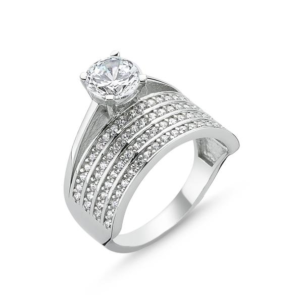 Inel argint cu 4 randuri de zirconii albe mici si un zirconiu mare - Eternity & Solitaire 0
