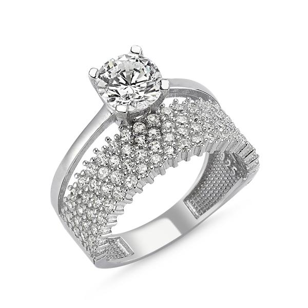Inel argint cu 4 randuri de zirconii mici si o piatra mare - Eternity & Solitaire 0
