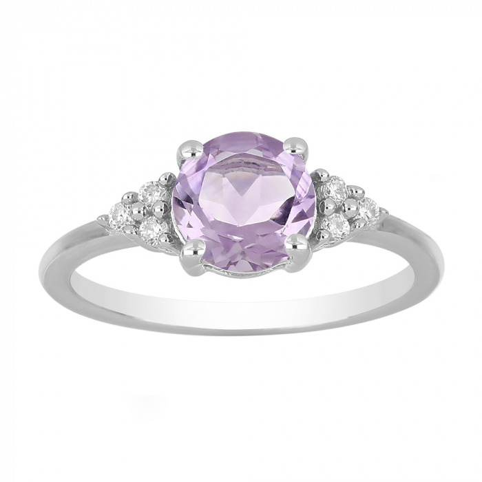 Inel argint cu Ametist Roz si 6 cristale de zirconiu alb - IVA0083 [1]