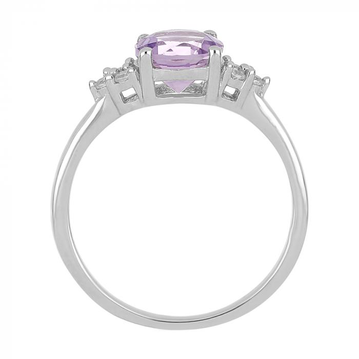 Inel argint cu Ametist Roz si 6 cristale de zirconiu alb - IVA0083 [3]