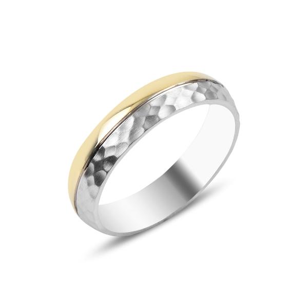 Inel argint cu banda aurie, placat cu rodiu [0]