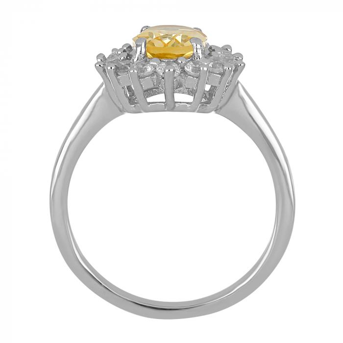 Inel argint cu citrin si cristale de zirconiu alb - IVA0095 3