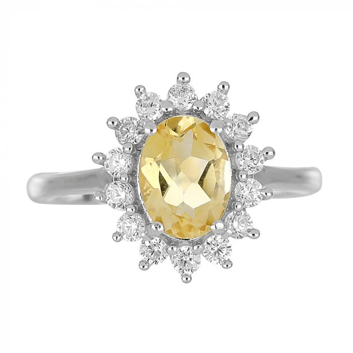 Inel argint cu citrin si cristale de zirconiu alb - IVA0095 2