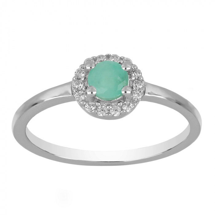 Inel argint cu Emerald si cristale de zirconiu alb - IVA0118 [1]