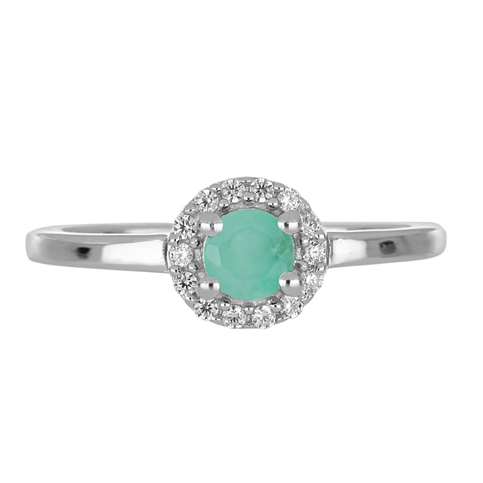 Inel argint cu Emerald si cristale de zirconiu alb - IVA0118 [2]