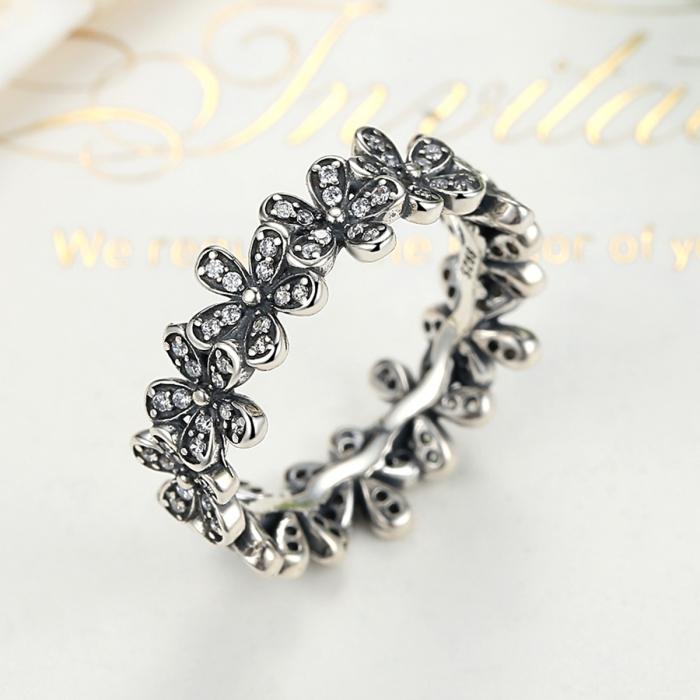 Inel argint cu floricele si zirconii albe - Be Nature IST0011 2