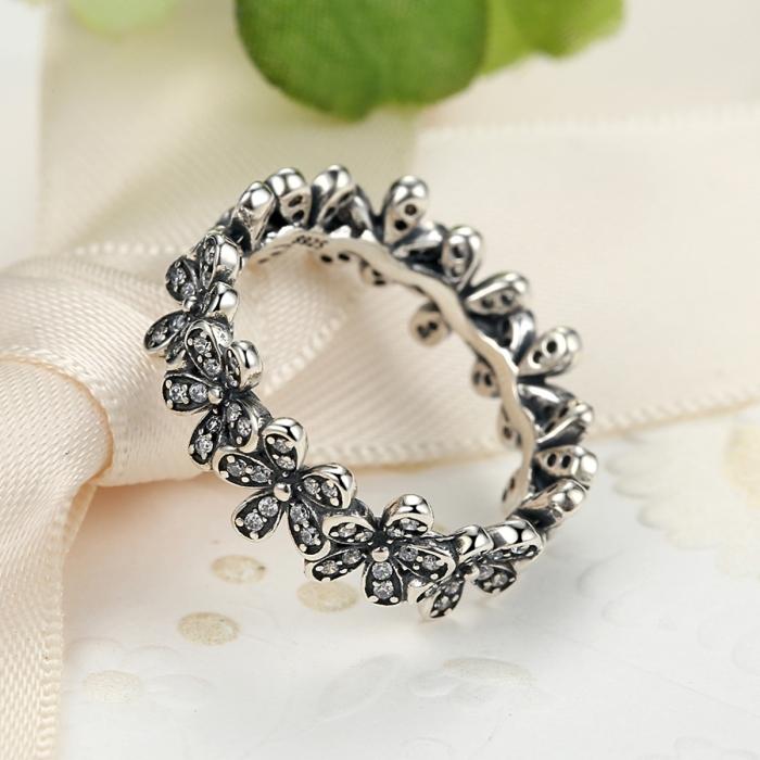 Inel argint cu floricele si zirconii albe - Be Nature IST0011 4