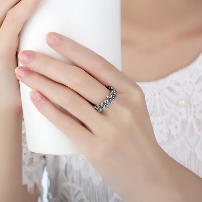 Inel argint cu floricele si zirconii albe - Be Nature IST0011 5