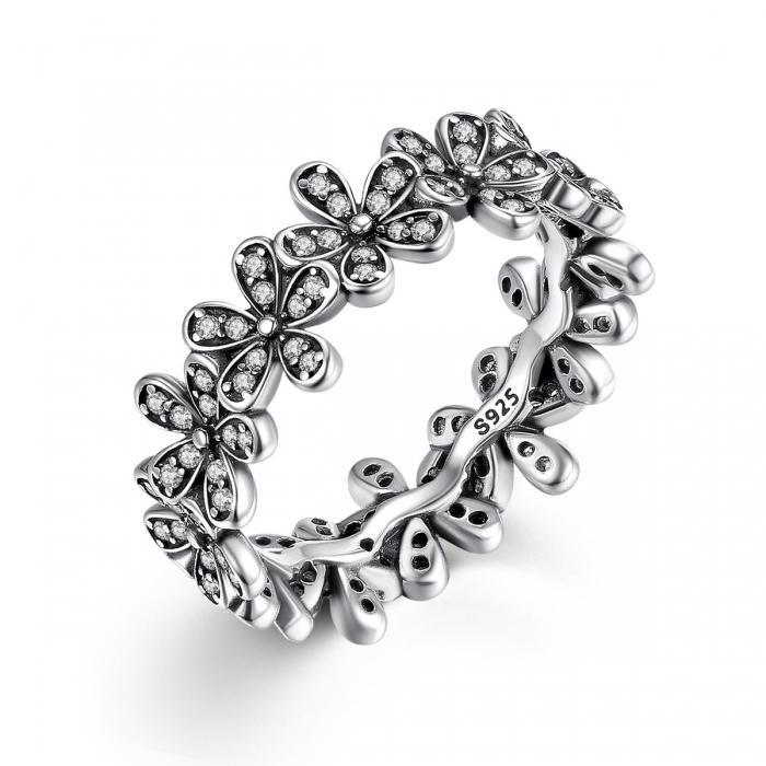 Inel argint cu floricele si zirconii albe - Be Nature IST0011 0